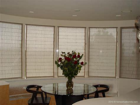 hemp roman shades blinds  bay  bow window treatment