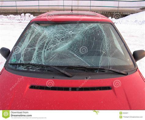 Car Accident   Front Window Broken Stock Image   Image: 655921