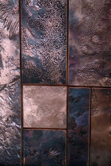 contemporary textured copper wall sculpture