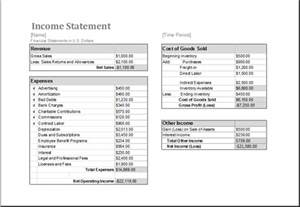 Income Statement Spreadsheet Ms Excel Income Statement Editable Printable Template Excel Templates