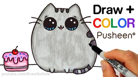 draw color pusheen cat step  step easy cute
