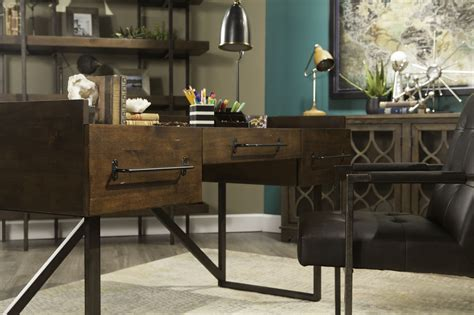 starmore 63 home office desk 63 quot contemporary three drawer desk in walnut mathis