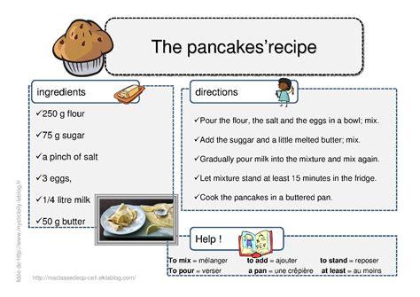 recette de cuisine en anglais recette en anglais des pancakes so dessins