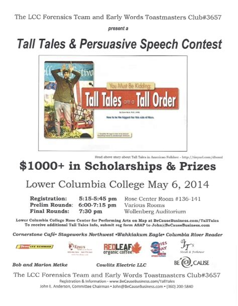 tall tales persuasive speech contest kelso longview chamber commerce