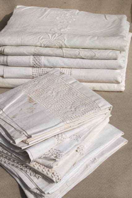 Antique Vintage White Cotton Sheets & Pillowcases W