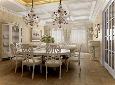 Formal Living Room Furniture Layout by Chic White Themed Elegant Dining Room Installed On Wooden