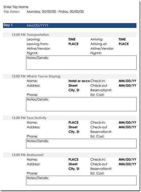 excel itinerary template free itinerary templates to perfectly plan your trips travel plans