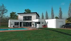 maison contemporaine a etage 180 m2 4 chambres With plan de maison 120m2 12 constructeur maison toit plat loire maisons ideales