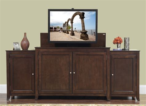 tv lift cabinets for flat screens monterey tv lift cabinet with side cabinets for flat