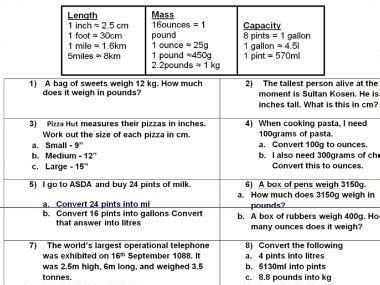 metric units and common imperial units mass capacity