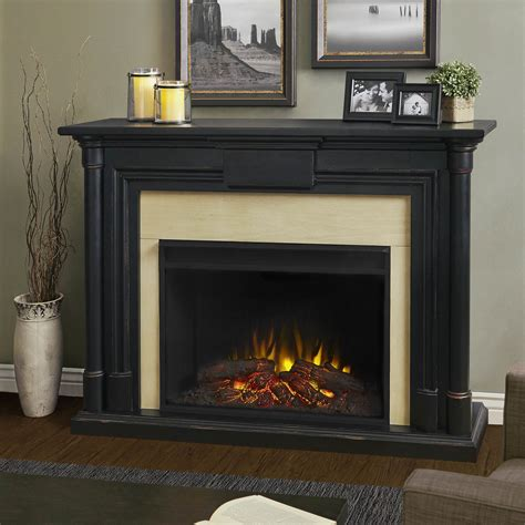 Black Fireplace - 58 quot maxwell grand black wash electric fireplace