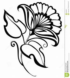 beautiful-black-white-flower-hand-drawing-floral-design ...