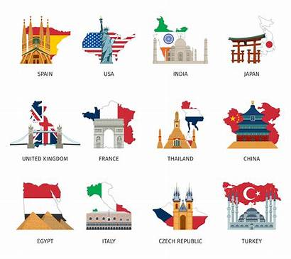 Landmarks Countries Flags Icons Vector Flat National