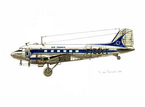1970 Vintage Airplane Print Douglas Dc3 Antique Aircraft