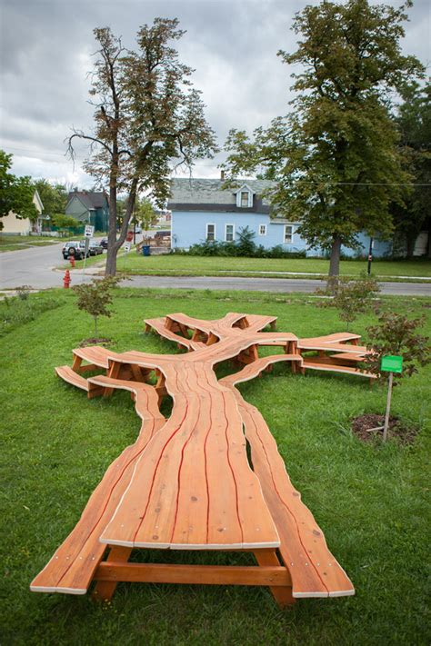 cool picnic table designs branching looping wooden tables by michael beitz colossal