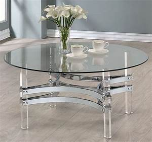 chrome and clear acrylic round coffee table 720708 With clear lucite acrylic coffee table