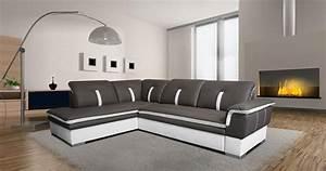 Canapé D Angle Cuir Blanc : photos canap d 39 angle cuir gris et blanc ~ Melissatoandfro.com Idées de Décoration