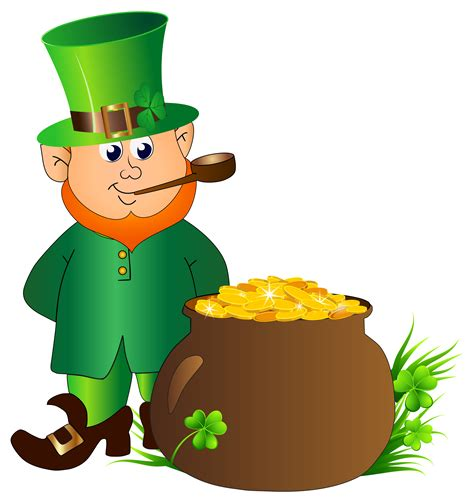 leprechaun with pot of gold transparent clip image cliparting