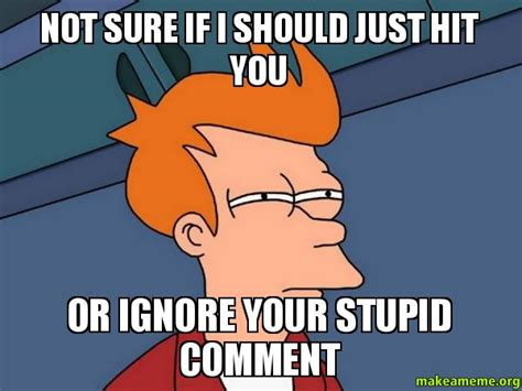 Not Sure If I Should Just Hit You Or Ignore Your Stupid