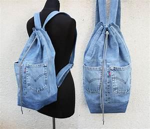 Denim backpack upcycled jeans big drawstring backpack bucket
