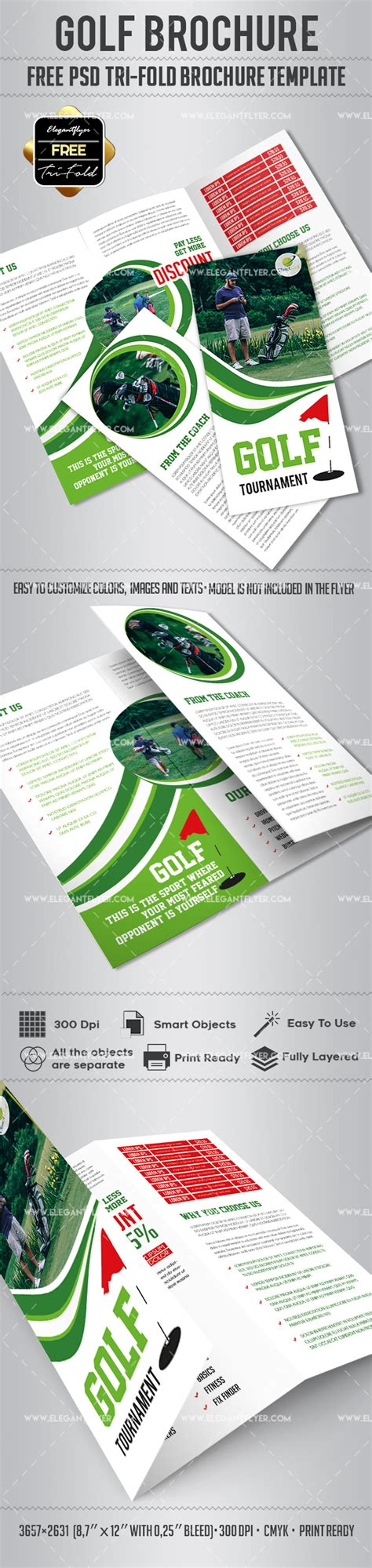 Tri Fold Brochure Templates Free By Elegantflyer Golf Free Psd Tri Fold Psd Brochure Template By