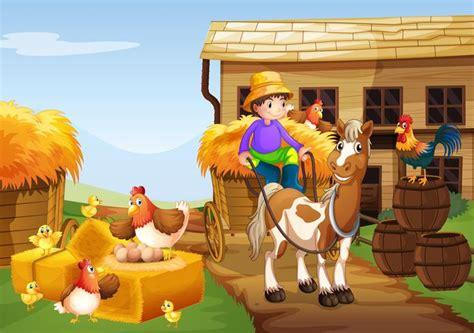 Agricultor andar a cavalo na fazenda Download Vetores
