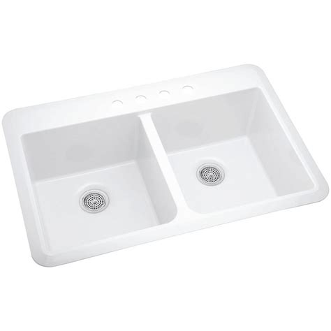 sterling kitchen sink sterling slope acrylic drop in undermount vikrell 33 in 4 2512
