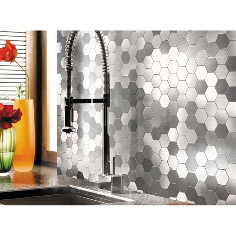 self adhesive metal mosaic 10 pcs hexagon peel n stick tiles 12x12in