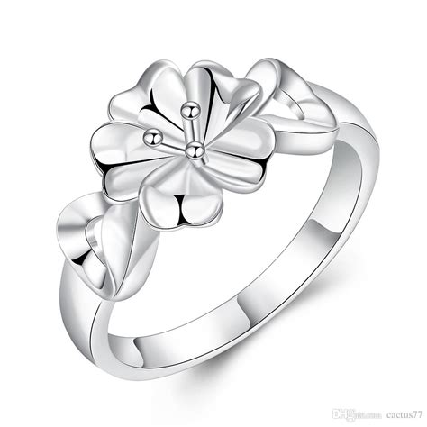 2018 2016 New Design Flower Jewelry Silver Rings For Women