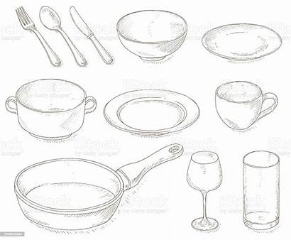 Dishes Empty Vector Illustration Backgrounds Cafe Bowl