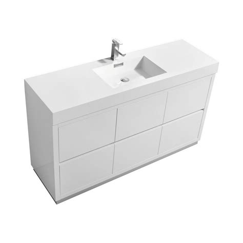 Free Standing Bathroom Vanity With Sink Bliss 60 Quot Single Sink High Gloss White Free Standing Vanity