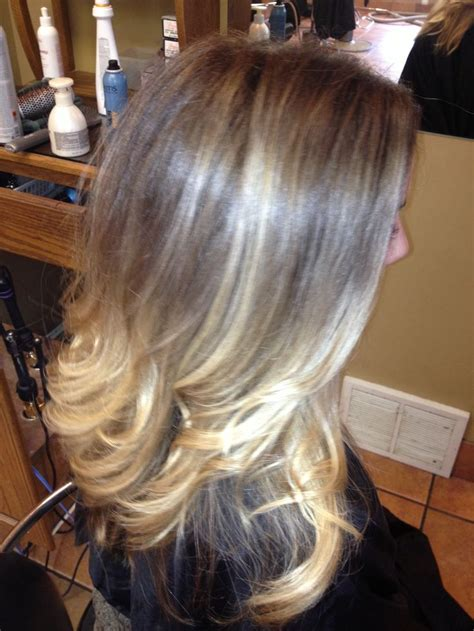 blended outgrown highlights  ombre hair