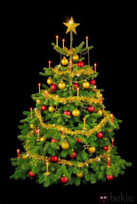 193 rbol de navidad decorado con adornos dorados y rojos