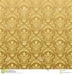 Seamless Wallpaper Background Floral Vintage Gold Royalty ...