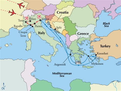 map  italy  greece area  travel information