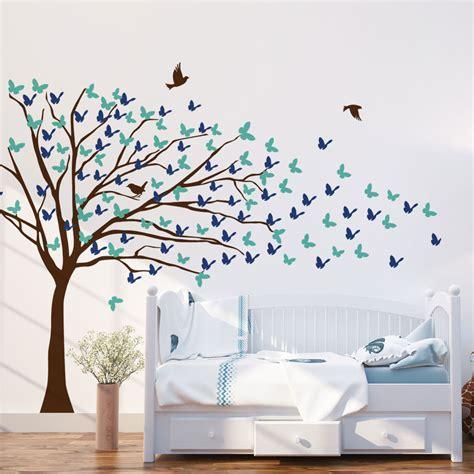 kids butterflies blowing tree wall decal vinyldesign