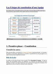 5 Phases De Constitution D39une Quipe