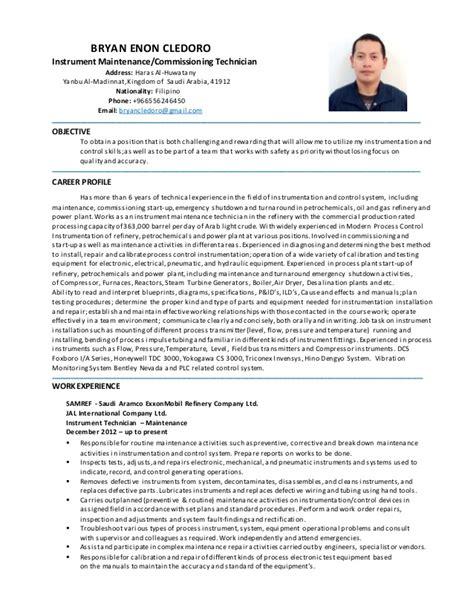 Instrument Technician Resume by Bryan Enon Cledoro Inst Maint Tech Cv
