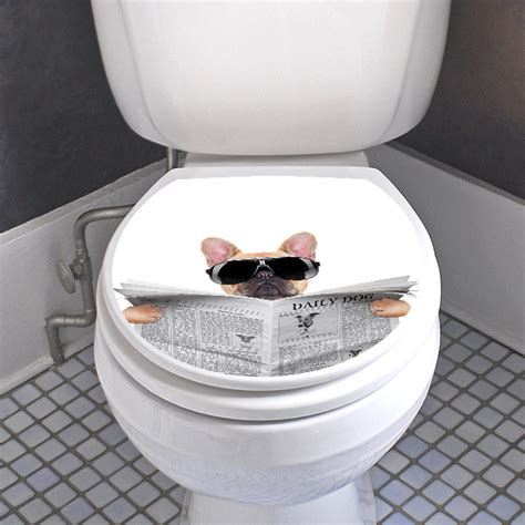 sticker abattant wc chien avec  journal  lunettes de