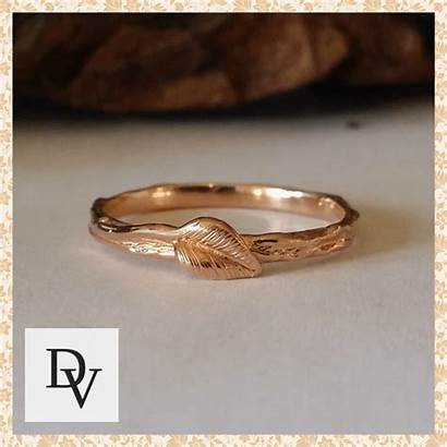 Engagement Stacking Band Ring Twig Leaf Rings