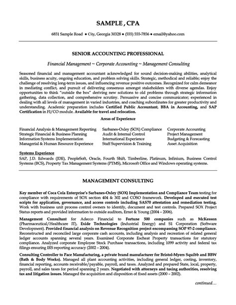 Cpa Resume Summary by Senior Accounting Professional Resume Exle Resumes Professional Resume