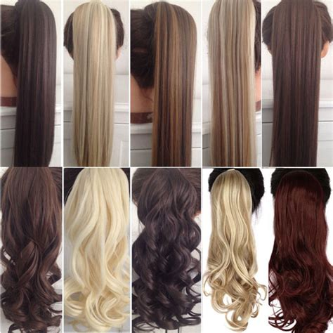 ponytail hair extensions clip extension long wavy tail synthetic wrap ponytails wigs 23inch alibaba