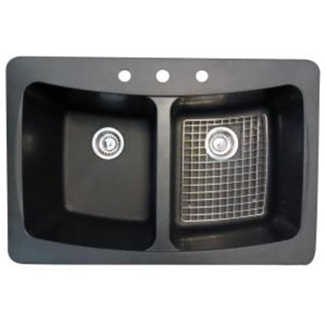 glacier bay dual mount granite 33 in 3 hole double basin