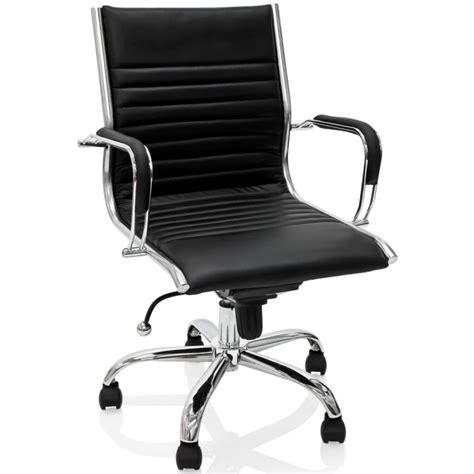 fauteuil de bureau en cuir fauteuil de bureau en cuir noir et métal chromé