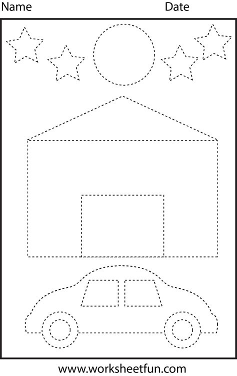picture tracing shapes  worksheet  printable