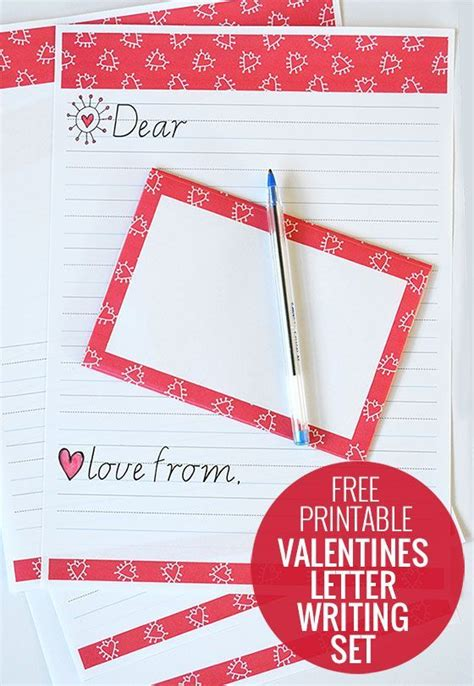 free printable valentines letter writing set valentines paper and kid