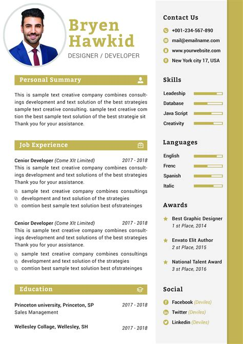 modern design manager cv template  resume templates