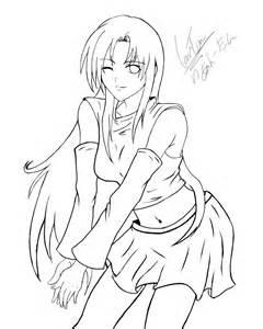 Anime Girl Line Drawing