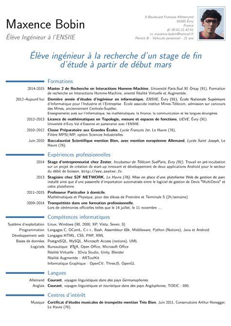 Format Cv Francais by Cv Format Francais Trame De Cv Gratuit Forestier Rhone Alpes