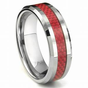 aloysius tungsten carbide red carbon fiber ring With tungsten carbide wedding rings
